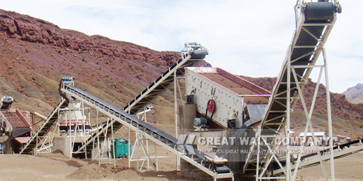 Limestone crusher working site